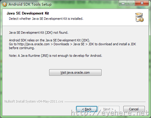 Java SE Development Kit (JDK) not found.