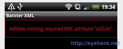 "Android AdView missing required XML attribute ""adsize"""