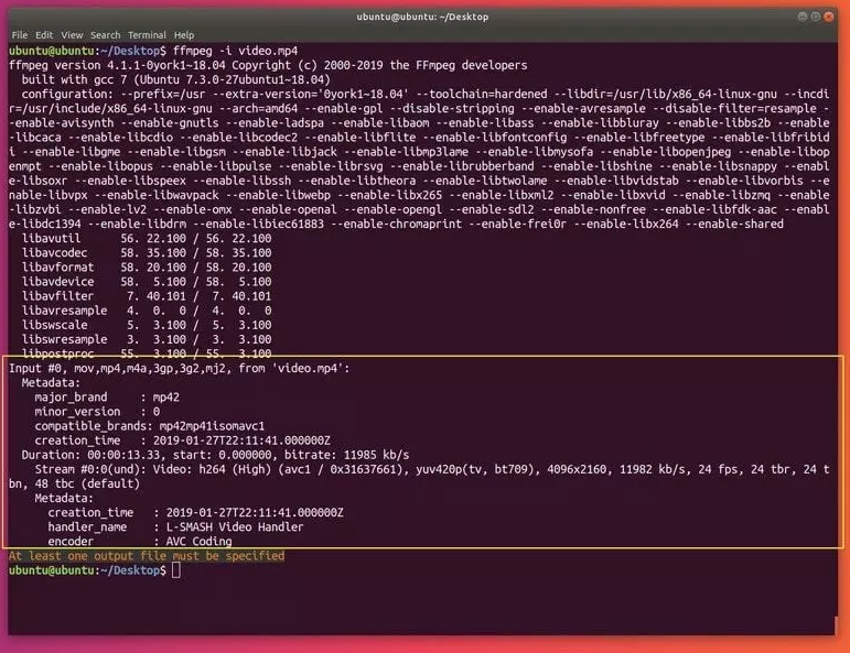 Display information about a media file with ffmpeg